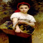 William Bouguereau (1825-1905)  Vendangeuse [The Grape Picker]  Oil on canvas, 1875  55 x 24 3/4 inches (140 x 63 cm)  Ny Carlberg Glyptotek, Copenhagen